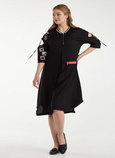 Sementa Büyük Beden Kol Detaylı Cepli Kadın Elbise - Siyah Siyah